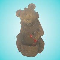 Vintage Folk Art Carving of Bear Eating Strawberries