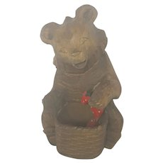 Vintage Folk Art Carving of Bear Eating Strawberries