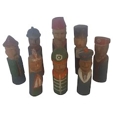Rare Early 1900's hand Carved Primitive Folk Art Soldier Skittles - Each One Different