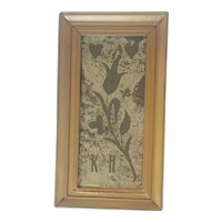 Rare 19th C. Folk Art Etched Mirror Love Token w/Tulip, Hearts, and Initials