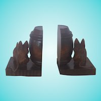 Pr. Vintage Folk Art Black Forest Scottie Dog Bookends