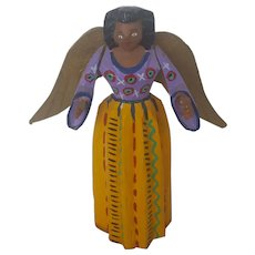 Vintage Primitive Hand Carved & Painted Articulated Angel