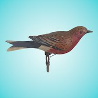Vintage Folk Art Fanciful Red Breasted Bird Carving