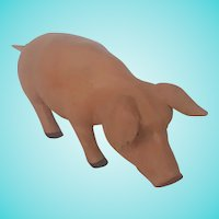 Large Folk Art Carved and Painted Standing PInk Pig