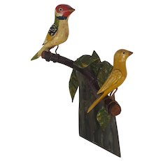 Pair of Antique C.1915-20 Folk Art Carved & Painted Birds on Branch with Leaves