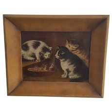 Vintage Folk Art Oil on Canvas Painting of 3 Kittens w/ Steaming Bowl