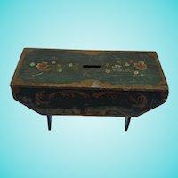 Rare 19th C. New England Folk Art Miniature Painted Footstool Bank