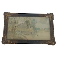 Diminutive Vintage Folk Art Watercolor Landscape Painting of House on Lake