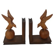 Vintage Carved Eagle on Ball Bookends