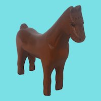 "Vintage Naive Folk Art 6 1/4"" Tall x 7"" Long Horse Carving"