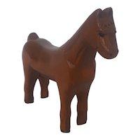 """Vintage Naive Folk Art 6 1/4"""" Tall x 7"""" Long Horse Carving"""
