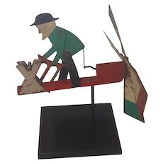Vintage Folk Art Amish Man Chopping Wood Metal Whirligig from my Collection
