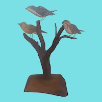 Vintage Maryland Folk Art Warbler Bird Tree