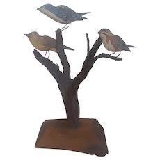 Vintage Maryland Folk Art Warbler Bird Tree