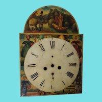 Rare 1830's-50's Antique Folk Art Painted 4 Seasons & Lady of Lake Clock Face