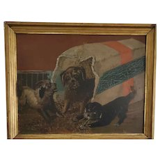 Early 1900's Naive Folk Art Painting of 3 Mischievous Puppies from My Collection