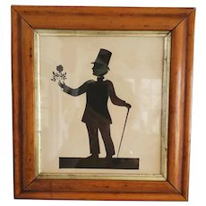 Antique c. 1824-1840 American Folk Art Pen & Ink Silhouette of Dapper Gentleman