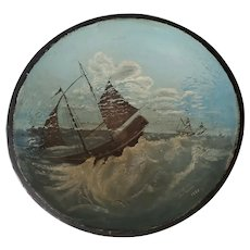 Vintage Signed & Dated 1938 Folk Art Ships at Sea Painting on Antique Dough Bowl