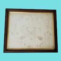 """Antique 19th C. Folk Art 25"""" x 21""""  Calligraphy of 2 Crested Birds Encircled by 5 Birds"""