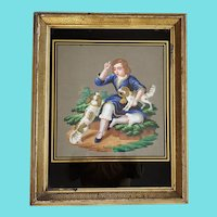 19th C. Folk Art Painting of Boy & 2 Dogs w/Eglomise Glass and Gilt Frame #1