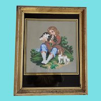 19th C. Folk Art Painting of Boy & 2 Dogs w/Eglomise Glass and Gilt Frame #2