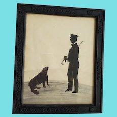 Antique 19th C. Folk Art Cut Paper Silhouette of a Gentleman & His Dog