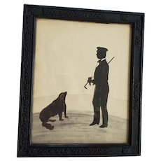 Antique 19th C. Folk Art Cut Paper Silhouette of a Gentleman & His Dog