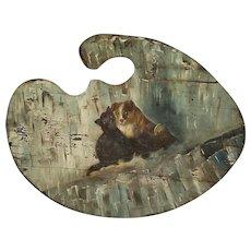 Vintage Naive Folk Art Palette Shaped Painting of Dog & Cat