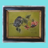 Vintage Signed Folk Art Painting of Baby Sparrow & Moth on Rose Branch