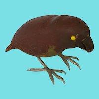 Naive Vintage Folk Art Brown & Green Parrot Carving
