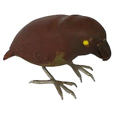 Naive Vintage Folk Art Brown & Green Parrot Carving
