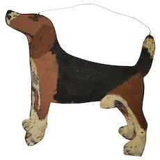 Vintage Naive PA. Folk Art Double-Sided Beagle Dog Trade Sign