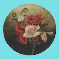 Antique Victorian Signed & Dated 1885 Folk Art Poppies Painting on Papier Mache Plate