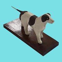 Vintage Folk Art Brown & White Hunting Dog Carving
