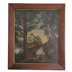 """Antique Signed """"Nickols"""" & Dated """"'13"""" Folk Art Painting of Shepherd, Dog & Sheep"""