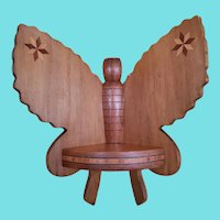 Vintage Folk Art Butterfly Corner Shelf w/Inlaid Stars