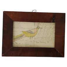 19th C. Naive Folk Art Bird Watercolor on Ledger Page in Antique Frame
