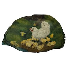 Vintage Naive Folk Art Hen & Chicks Painting on Large Tree Conk