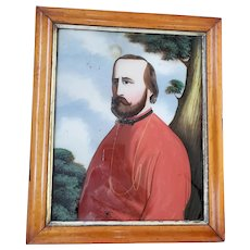Late 19th C. Folk Art Reverse Painting of Bearded Gentleman