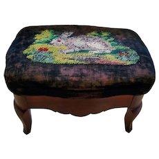 Antique Victorian Mahogany Footstool w/Rabbit Needlepoint Top