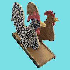 Funky Vintage Folk Art Rooster Letter or Napkin Holder