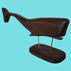 Vintage Mid-Century Modern Folk Art Pine Whale Carving on Stand