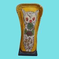 """Huge 21"""" Vintage 1920-1940 Primitive Folk Art Owl/Cat Carnival Knock-Down Punk"""