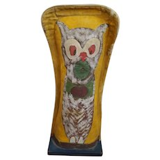 "Huge 21"" Vintage 1920-1940 Primitive Folk Art Owl/Cat Carnival Knock-Down Punk"