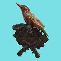 Antique Folk Art Painted Bird Carving on Hand Carved Crossed Guns Hanger