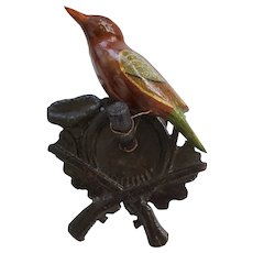 Antique Folk Art Painted Bird Carving on Hand Carved Crossed Guns Hanger