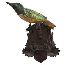 Antique Folk Art Painted Bird Carving on Hand Carved Shield & Oak Leaves Hanger