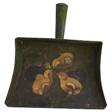 Antique Ca. 1860 Folk Art Baby Chicks Painting on Tin Dustpan