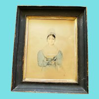 Antique Mid-19th C. Folk Art Watercolor Painting of Young Woman Holding Book