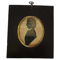 19th C. Folk Art Silhouette of Young Gentleman in Original Frame